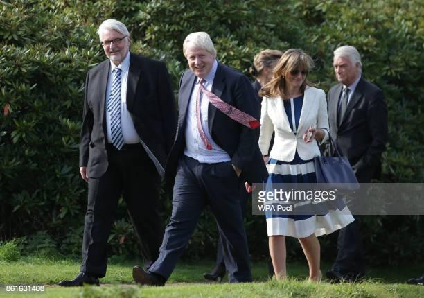 Poland's Foreign Minister Witold Waszczykowski Britain's Foreign Secretary Boris Johnson and Bulgaria's Foreign Minister Ekaterina Zakharieva walk...