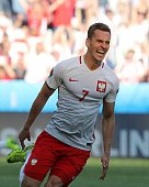Poland's forward Arkadiusz Milik celebrates his goal during the Euro 2016 group C football match between Poland and Northern Ireland at the Allianz...