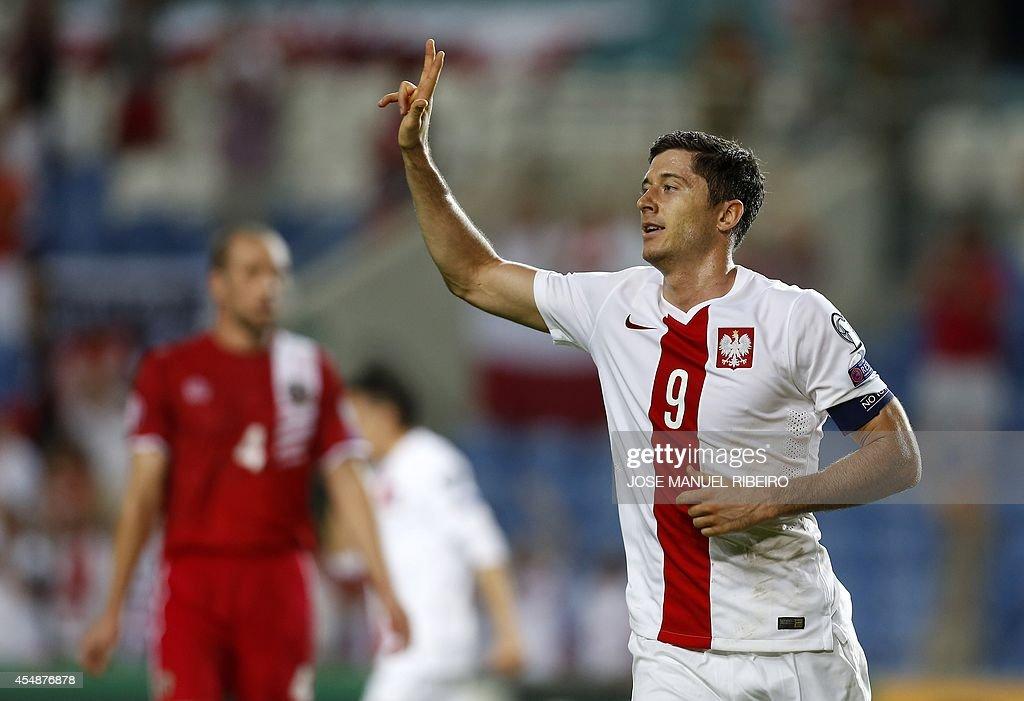 Poland's forward Robert Lewandowski celebrates his goal against Gibraltar during the UEFA EURO 2016 Qualifier football match Gibralta vs Poland at...