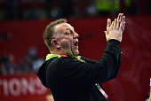 Poland's German coach Michael Biegler directs his team during the Men's 2016 EHF European Handball Championship match between Poland and Macedonia at...