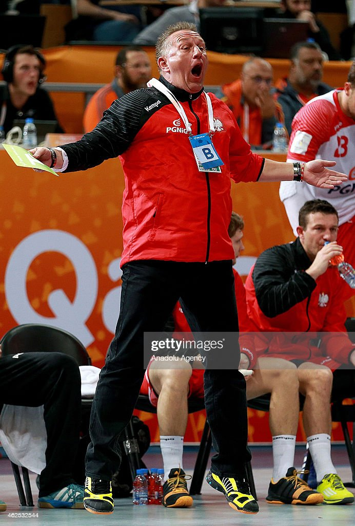 Poland's head coach <a gi-track='captionPersonalityLinkClicked' href=/galleries/search?phrase=Michael+Biegler&family=editorial&specificpeople=2506225 ng-click='$event.stopPropagation()'>Michael Biegler</a> reacts during the 24th Men's Handball World Championships semifinal handball match between Poland and Qatar at the Lusail Sports Arena in Doha, Qatar on January 30, 2015.