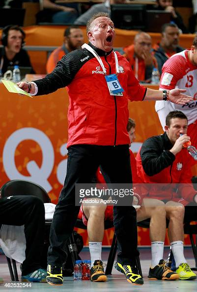 Poland's head coach Michael Biegler reacts during the 24th Men's Handball World Championships semifinal handball match between Poland and Qatar at...