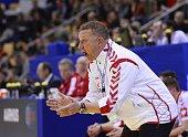 Poland's head coach Michael Biegler reacts during the men's EHF Euro 2014 Handball Championship group C match Serbia vs Poland on January 13 2014 at...