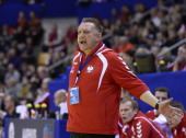 Poland's head coach Michael Biegler reacts during the men's EHF Euro 2014 Handball Championship group C match Poland vs Russia on January 17 2014 at...