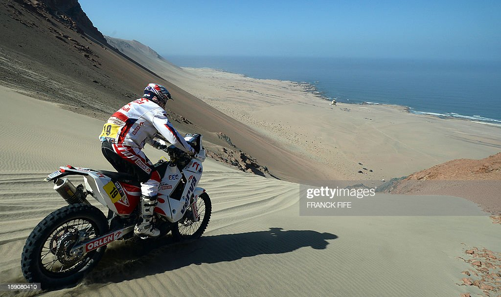 Poland's Jacek Czachor competes during Stage 3 of the Dakar Rally 2013 between Pisco and Nazca, Peru, on January 7, 2013. The rally will take place in Peru, Argentina and Chile from January 5-20.