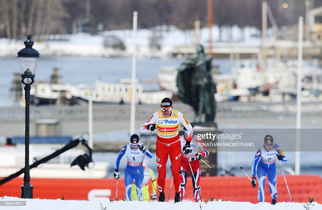 Poland's Justyna Kowalczyk skis to the finish line to finish in the first place during the Women's 1.1 kilometer cross country World Cup Royal Palace Sprint on March 20, 2013 in Stockholm.