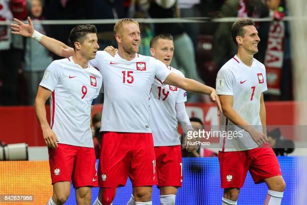 Poland's Kamil Glik celebrates scoring his side's second goal with Robert Lewandowski Piotr Zielinski and Arkadiusz Milik during the FIFA World Cup...