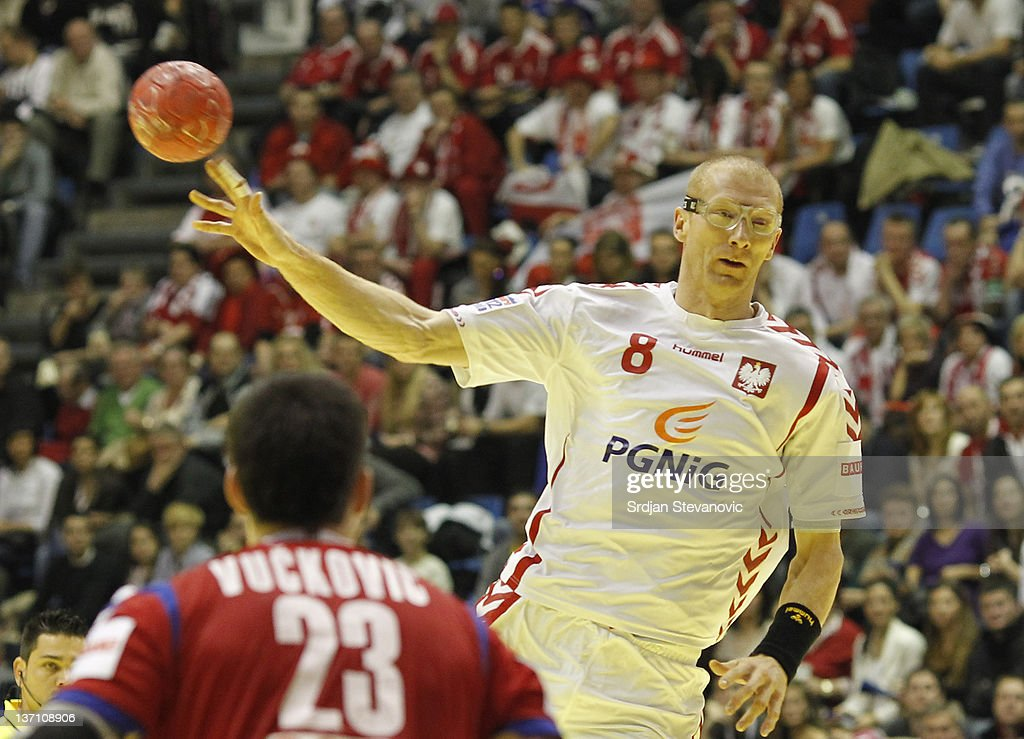Poland's Karol Bielecki ¨ in action against Serbia's Nenad Vuckovic during the Men's European Handball Championship group A match between Poland and Serbia at Pionir Sports Centre on January 15, 2011 in Belgrade, Serbia.
