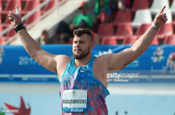 Poland's Konrad Bukowiecki reacts after throwing the ball in the men's shot put at the IAAF Diamond League Mohammed VI Athletics meeting in Rabat on...