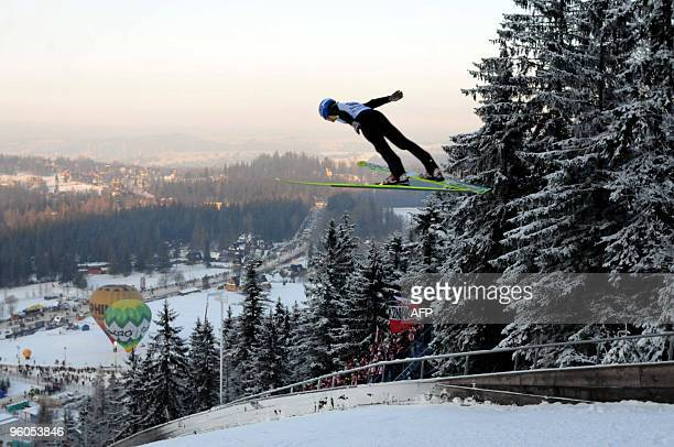 Poland's Krzysztof Mietus jumps during the world cup qualification round of ski jumping in Zakopane in Poland on January 23 2010 AFP PHOTO / Ludmila...