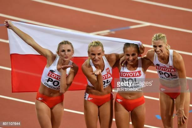 Poland's Malgorzata Holub Poland's Iga Baumgart Poland's Aleksandra Gaworska and Poland's Justyna Swiety celebrate bronze in the final of the women's...