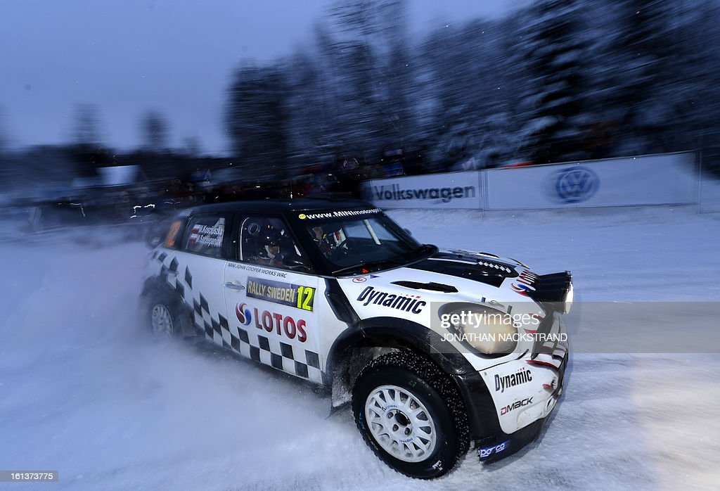 Poland's Michal Kosciuszko and his co-driver Maciej Szczepaniak steer their Mini John Cooper Works WRC during Mitandersfors stage, the 17th of Rally Sweden, second round of the FIA World Rally Championship on February 10, 2013 on the border to Norway near Torsby, north of Karlstad, Sweden.