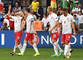 Poland's midfielder Jakub Blaszczykowski celebrates after scoring during the Euro 2016 group C football match between Ukraine and Poland at the...