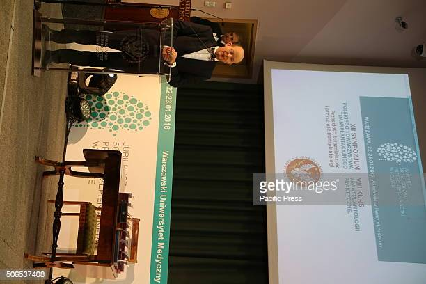 Polands Minister of Health Minister Konstanty Radziwi speaks during the 50th anniversary symposium of the first successful kidney transplant in...