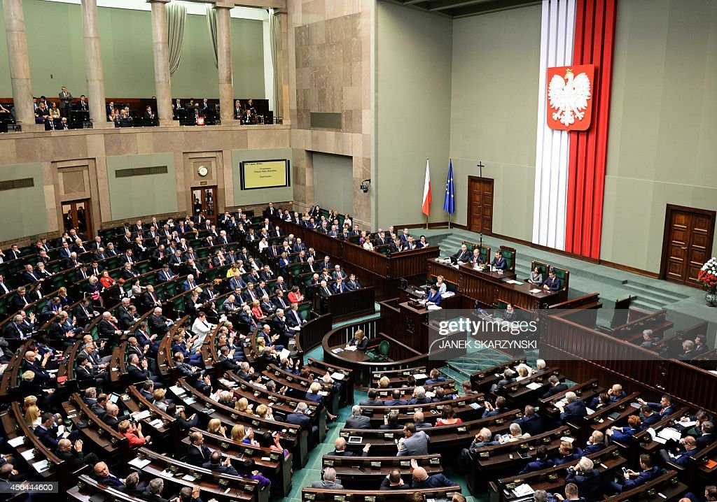 Poland's new Prime Minister Ewa Kopacz gives her inaugural speech to parliament on October 1 2014 in Warsaw Kopacz took over from Donald Tusk who...
