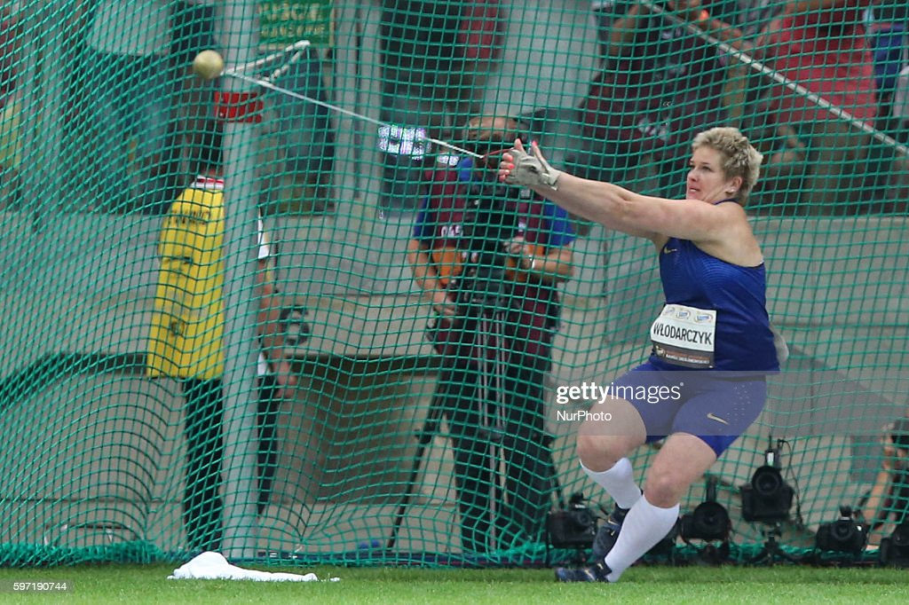 Poland's Olympic champion Anita Wlodarczyk throws the hammer during the athletics meeting of Kamila Skolimowska at the National Stadium in Warsaw...