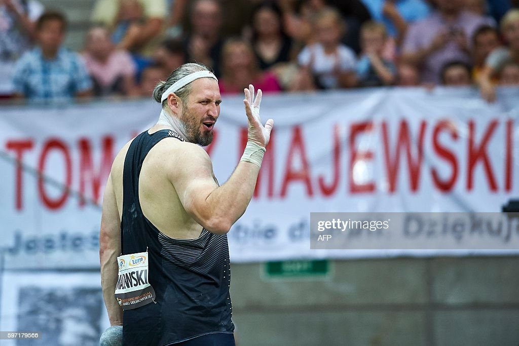 Poland's olympic champion Tomasz Majewski competes for the Men's Shot Put competition during the athletics meeting of Kamila Skolimowska at the...