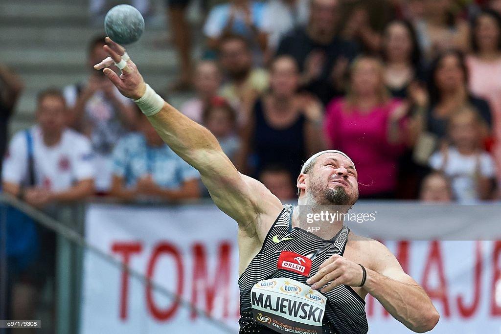 Poland's olympic champion Tomasz Majewski throws the shot during the Men's Shot Put competition at the athletics meeting of Kamila Skolimowska at the...