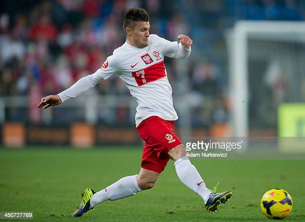 Poland's Piotr Cwielong controls the ball during the International friendly match between Poland and Ireland at the Inea Stadium on November 19 2013...