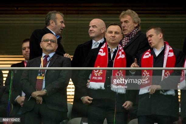 Poland's Presidend Andrzej Duda and President FIFA Gianni Infantino with President of Polish Football Association Zbigniew Boniek during the FIFA...