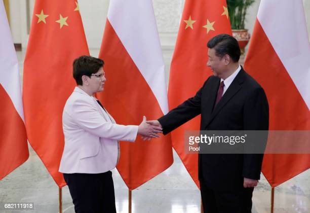 Poland's Prime Minister Beata Szydlo meets China's President Xi Jinping ahead of the upcoming Belt and Road Forum at the Great Hall of the People on...