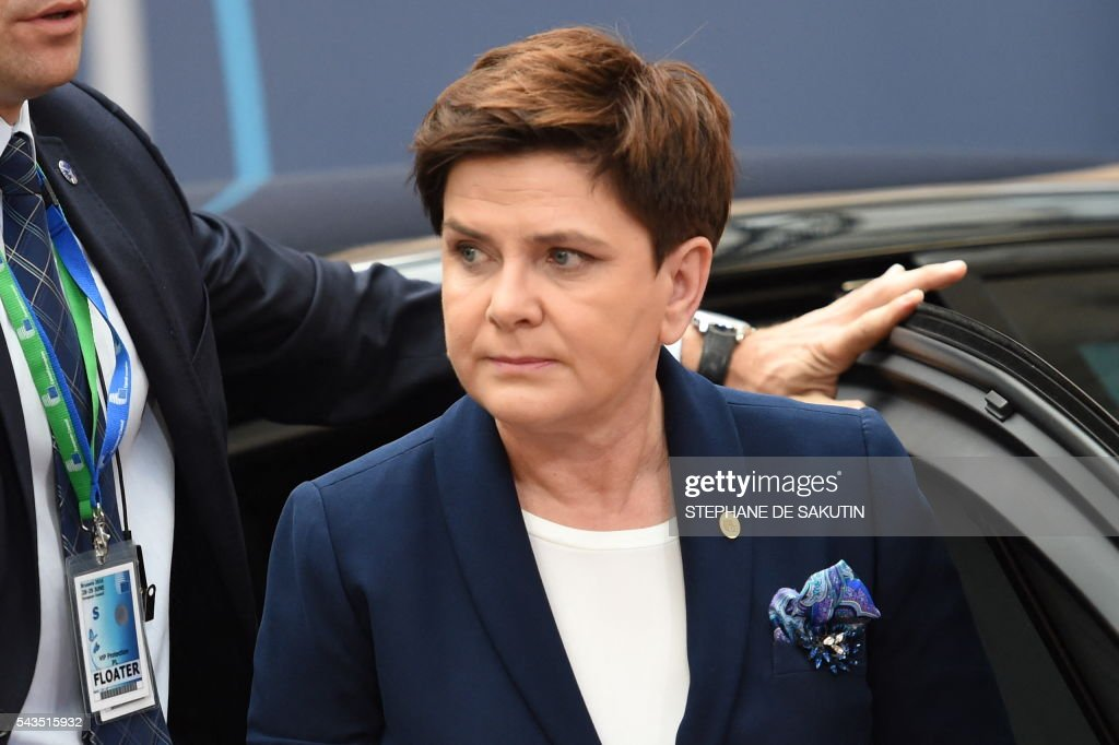 Poland's Prime minister Beata Szyd?o arrives for the second day of an EU - Summit at the EU headquarters in Brussels on June 29, 2016. European Union leaders will on June 29, 2016 assess the damage from Britain's decision to leave the bloc and try to prevent further disintegration, as they meet for the first time without a British representative. / AFP / STEPHANE