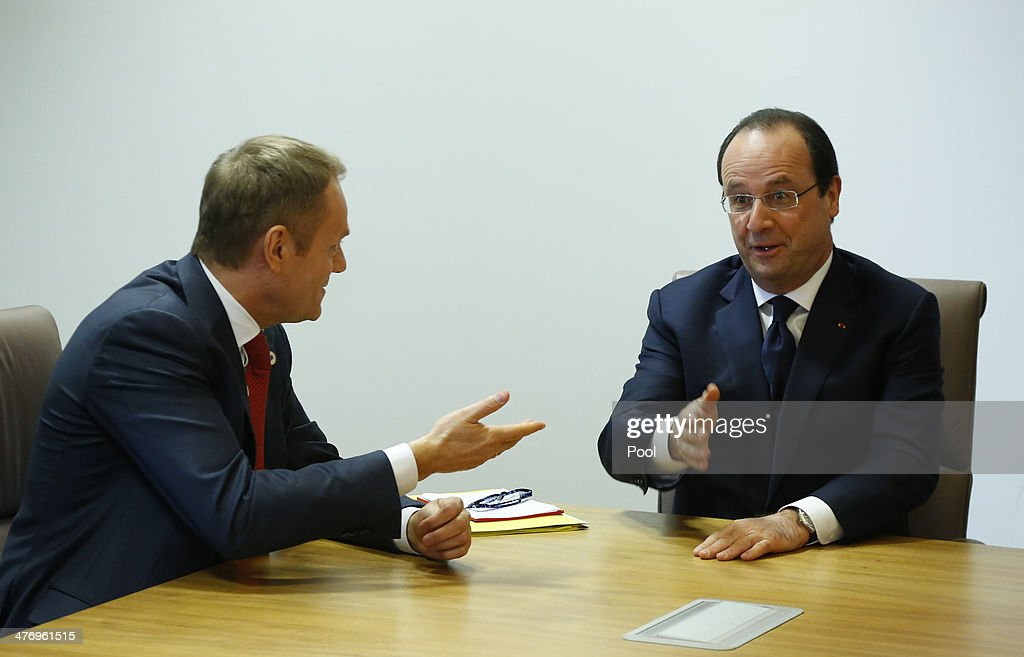 Poland's Prime Minister <a gi-track='captionPersonalityLinkClicked' href=/galleries/search?phrase=Donald+Tusk&family=editorial&specificpeople=870281 ng-click='$event.stopPropagation()'>Donald Tusk</a> (L) and France's President Francois Hollande speak during a meeting to discuss the situation in Ukraine at the European Union Council Building on March 6, 2014 in Brussels, Belgium. The EU leaders are attending an emergency summit in Brussels to decide how they should respond to the deployment of Russian troops in the Crimea. Russian forces have been on the ground in the Crimea since the change of government in Kiev when President Viktor Yanukovych was forced from power.