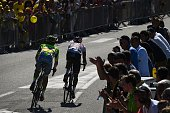 Poland's Rafal Majka and Colombia's Jarlinson Pantano ride in a breakaway during the 160 km fifteenth stage of the 103rd edition of the Tour de...