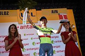 Poland's Rafal Majka celebrates his combativity prize on the podium at the end of the 160 km fifteenth stage of the 103rd edition of the Tour de...