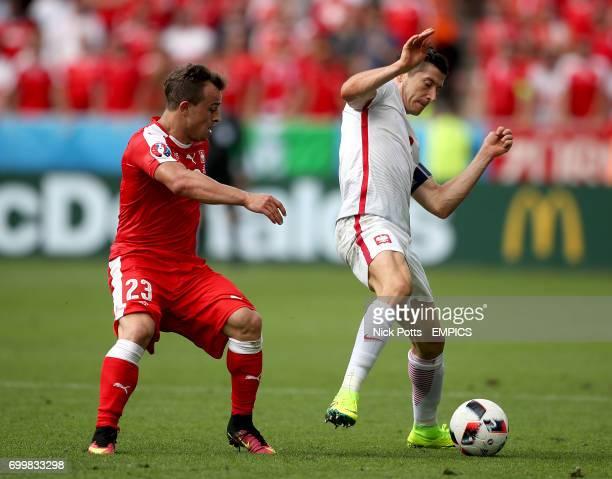 Poland's Robert Lewandowski and Switzerland's Xherdan Shaqiri