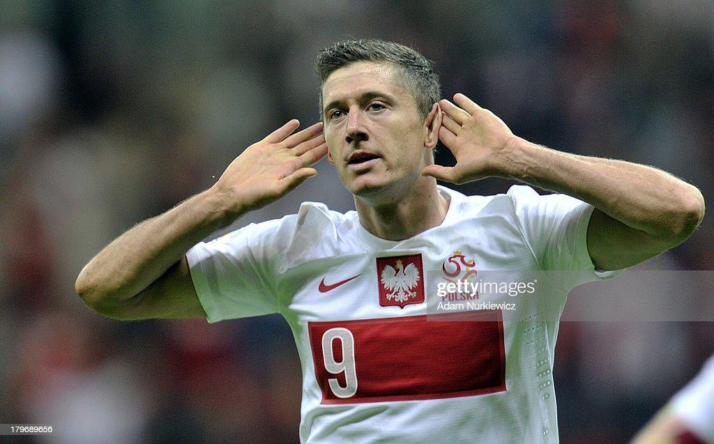 Poland's Robert Lewandowski celebrates after scoring during the FIFA 2014 World Cup Qualifier between Poland and Montenegro at the National Stadium...