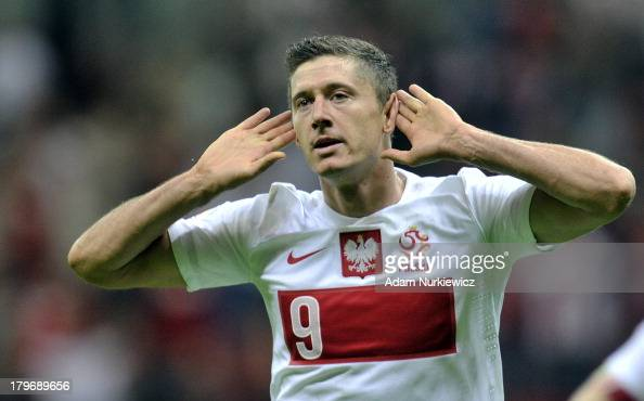 Poland's Robert Lewandowski celebrates after scoring during the FIFA 2014 World Cup Qualifier between Poland and Montenegro at the National Stadium...