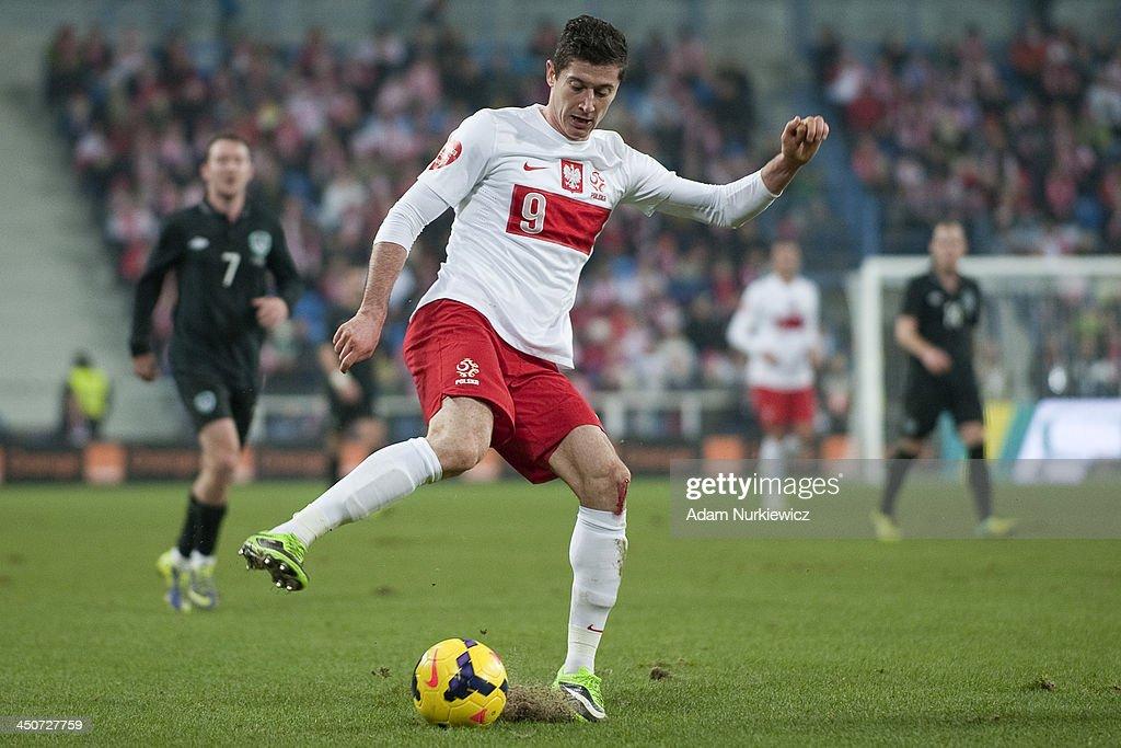 Poland's Robert Lewandowski controls the ball during the International friendly match between Poland and Ireland at the Inea Stadium on November 19...