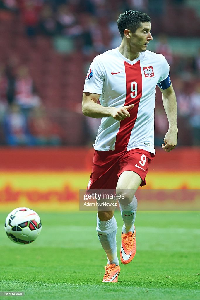 Poland's Robert Lewandowski controls the ball during the UEFA EURO 2016 qualifying match between Poland and Scotland on October 14 2014 on the...