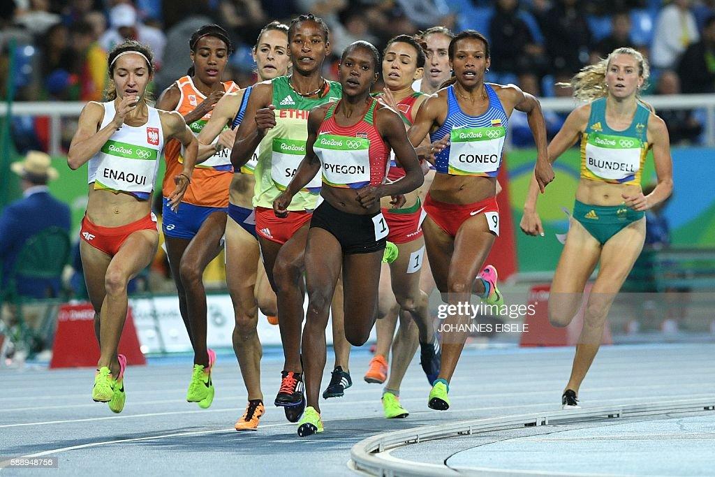 Poland's Sofia Ennaoui Netherlands' Sifan Hassan Ethiopia's Besu Sado Kenya's Faith Chepngetich Kipyegon Colombia's Muriel Coneo and Australia's...