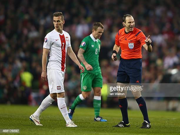 Poland's striker Arkadiusz Milik during the Euro 2016 qualifying football match between Republic of Ireland and Polandat Aviva Stadium on March 29...