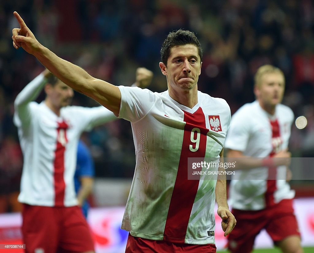 Poland's striker Robert Lewandowski celebrates scoring during the international friendly football match Poland vs Iceland on November 13 2015 in...