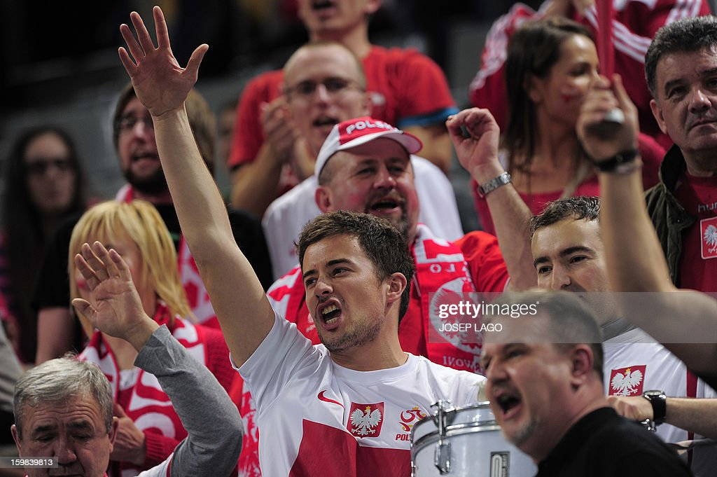 Poland's supporters cheer on their team before the 23rd Men's Handball World Championships round of 16 match Hungary vs Poland at the Palau Sant Jordi in Barcelona on January 21, 2013.