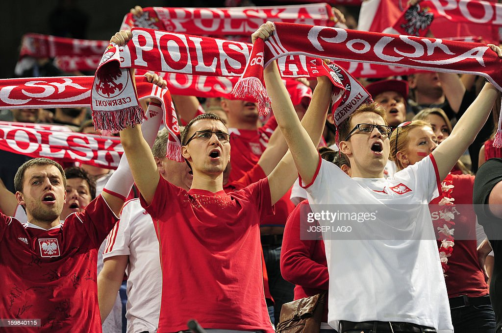 Poland's supporters cheer on their team during the 23rd Men's Handball World Championships round of 16 match Hungary vs Poland at the Palau Sant Jordi in Barcelona on January 21, 2013.