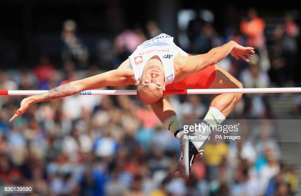 Poland's Sylwester Bednarek competes in the Men's High Jump Qualifying during day eight of the 2017 IAAF World Championships at the London Stadium