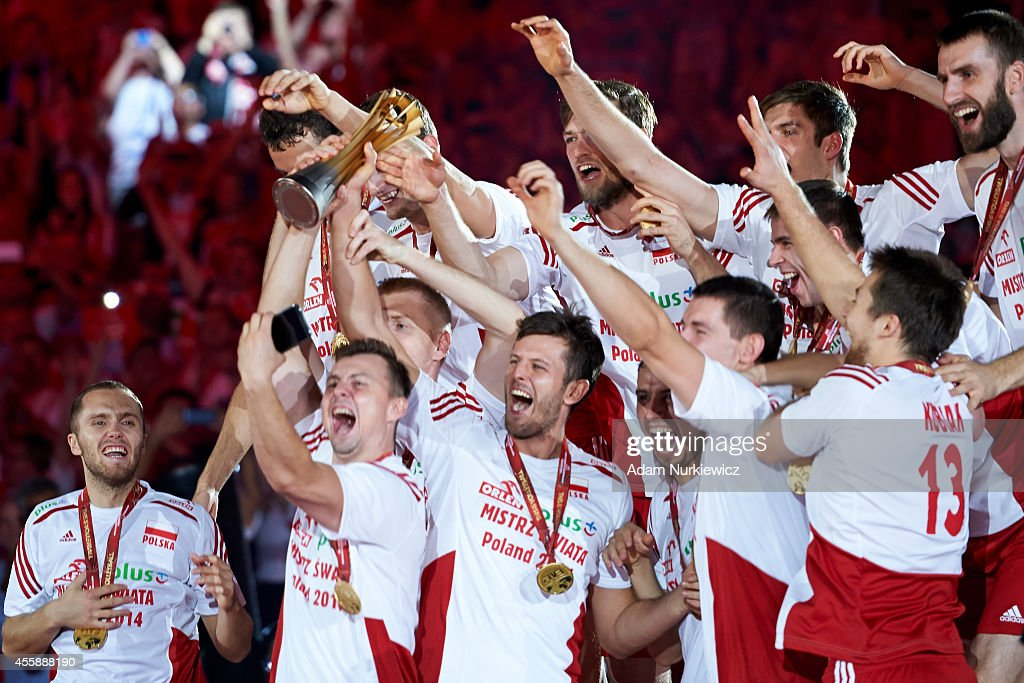 Poland's team celebrate gold medals and winning in the FIVB World Championships Final match between Brazil and Poland at Spodek Hall on September 21...