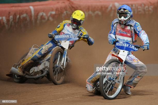 Poland's Tomasz Gollob and Australia's Jason Crump during the FIM British Speedway Grand Prix at the Millennium Stadium