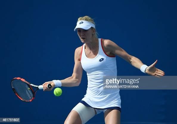 Poland's Urszula Radwanska plays a shot during her women's singles match against Kazakhstan's Zarina Diyas on day one of the 2015 Australian Open...