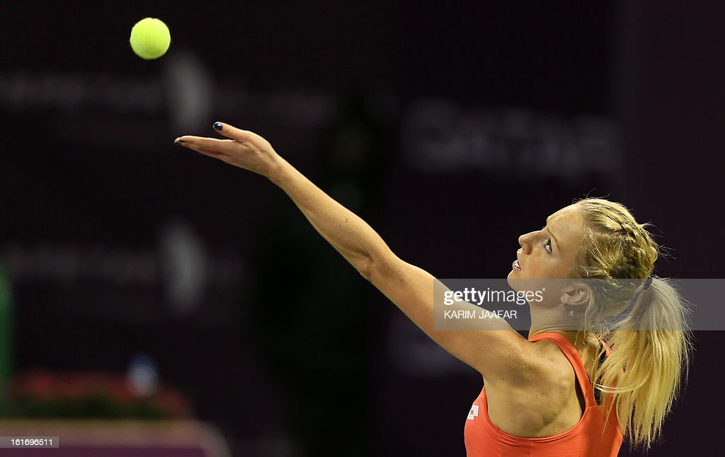Poland's Urszula Radwanska serves the ball to Serena Williams of the US during their WTA Qatar Open tennis match on February 14, 2013 in the Qatari capital, Doha. Williams won the match 6-0, 6-3.