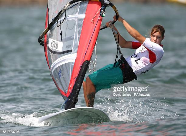 Poland's Zofia Klepacka sails in the final round of the Women's RSX Sailing Competition at the Olympic Games' Sailing Centre in Qingdao on day 12 of...