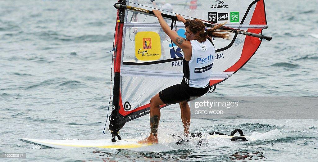 Poland's Zofia Noceti-Klepacka powers across the water on her way to winning the first Gold Fleet race in the
