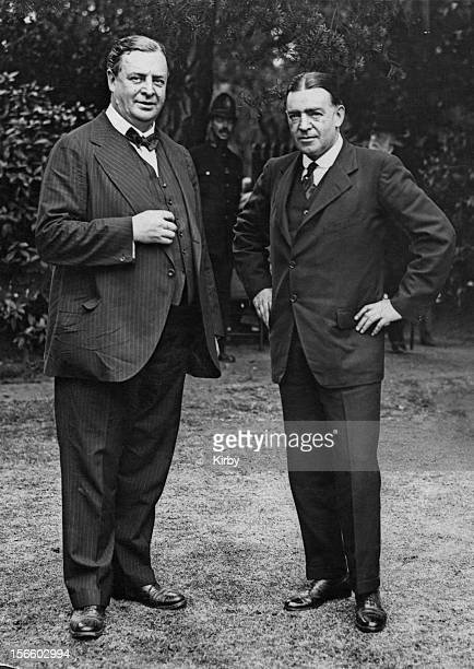 Polar explorer Ernest Shackleton with paper magnate Frederick Becker during a garden fete at Sutton Hall Hounslow 8th July 1921 Mr Becker who is...