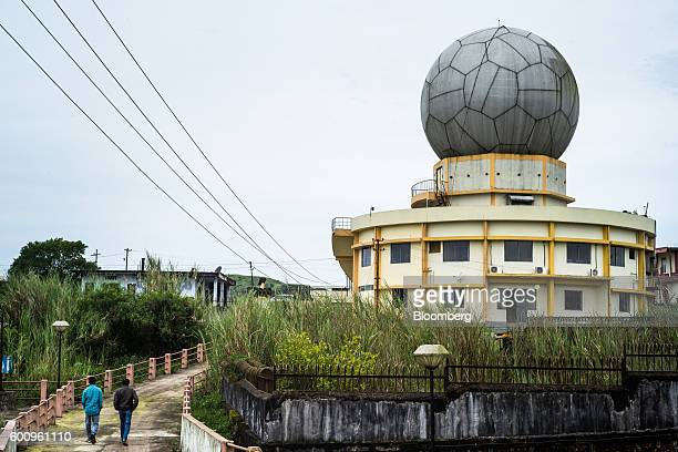 A Polarimetric Doppler Weather Radar sits atop the offices of India's meteorological department in Cherrapunji Meghalaya India on Tuesday Aug 16 2016...