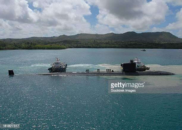 Polaris Point, Guam, May 30, 2012 - The Los Angeles-class attack submarine USS Topeka