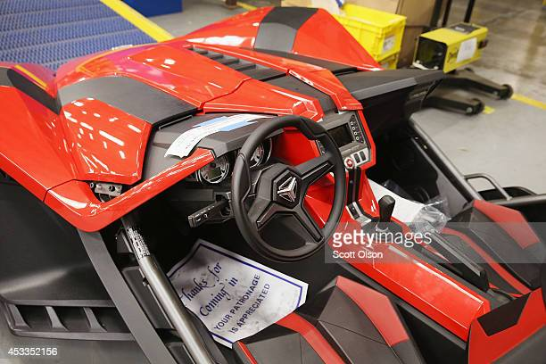 Polaris Singshot threewheeled motorcycle sits on the factory floor at the Polaris Industries facility on August 8 2014 in Spirit Lake Iowa Polaris...